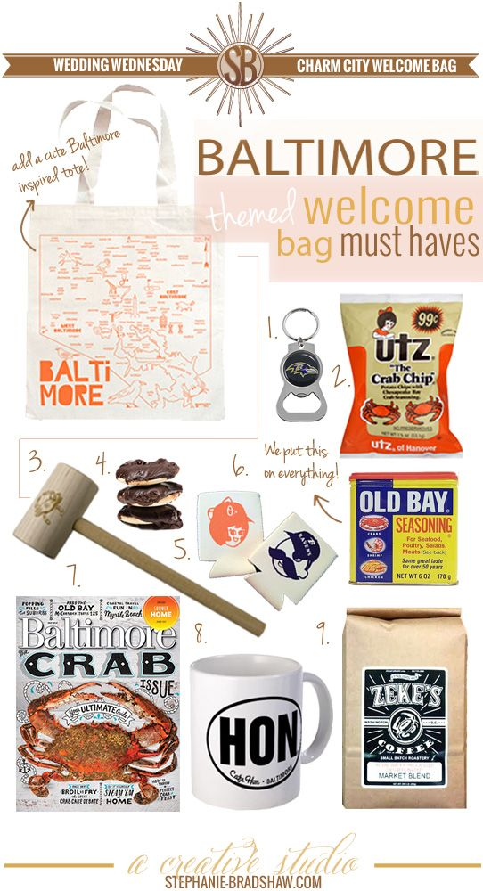 Charm City Welcome Bag, perfect for a #Baltimore themed wedding!