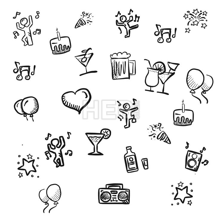 small party doodles Hand drawn Sketches by Hebstreits #stockimage #design