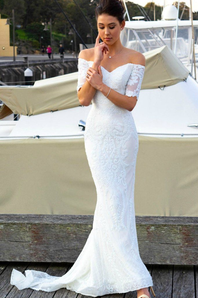 4f105e0326 Tinaholy Couture Designer T19005 White Stretch Sequin Formal Wedding Gown  Dress