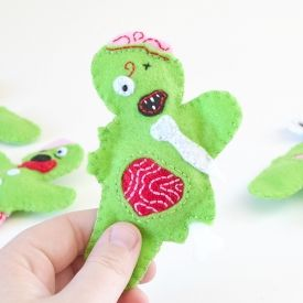"""These fun, catnip filled zombie felt cat toys are super easy to make and lots of fun! Check out the """"Walking Bread""""."""