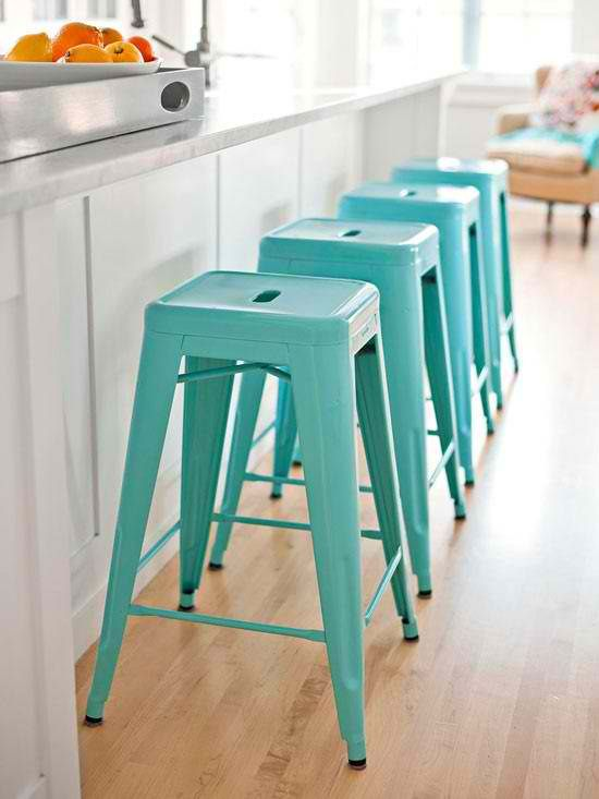 like the idea of stools with a pop of color