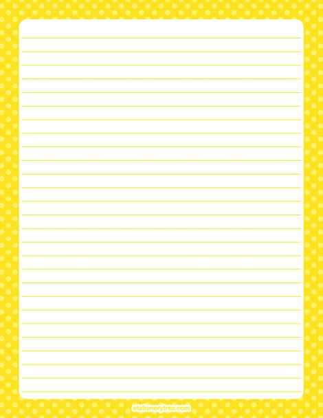 Printable yellow polka dot stationery and writing paper. Multiple versions available with or without lines. Free PDF downloads at http://stationerytree.com/download/yellow-polka-dot-stationery/