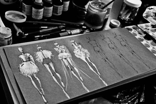 Fashion Sketchbook - stylish monochrome fashion illustrations using ink & paint - Peter Do, in the fashion designer's studio