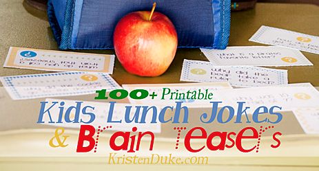 Printable Kids Lunch Jokes and Brain Teasers with over 100 jokes including holidays to last throughout the year.