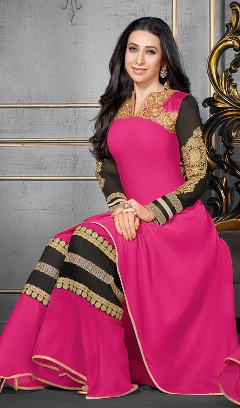 Discover the artistic side as Bollywood heroine Karisma Kapoor by slipping on this pink georgette palazzo suit. The lovely lace, patch and resham work a intensive attribute of this attire. #LatestFushiaPinkAndBlackPalazzoDress