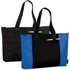 Fully recycled PET Bag  Made from 100% post-consumer recycled material with zippered main compartment and front pen loop. Features : 28cm drop handle height. US Certified. Recycled PET fabric is created from 8-10 plastic bottles. It is reusable for up to 3 years. Available Colours : Black, Blue (286)