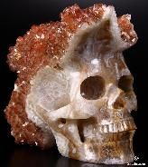 """Huge 6.4"""" Red Quartz Rock Carved Crystal Skull, Realistic"""