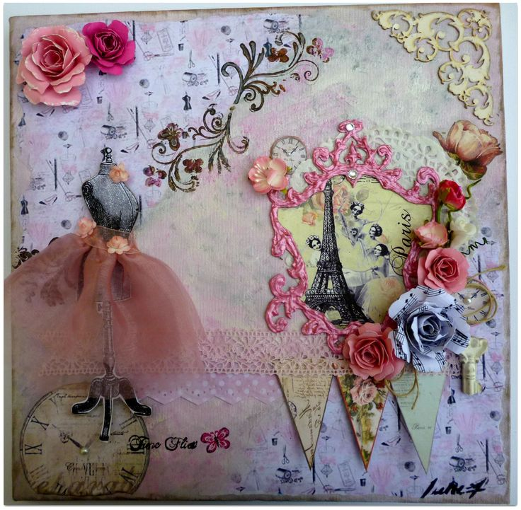 Mixed media Vintage Dress Form Canvas using decoupage, stamps,chipboard corner, resin key and handmade pink frame and flowers. 40x40cm