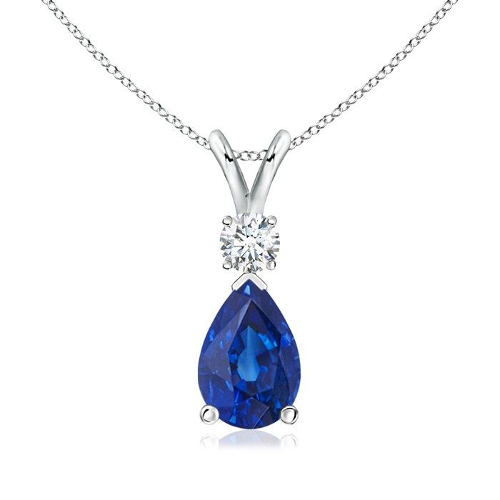 Angara Natural Sapphire and Diamond V-Bale Dangling Pendant(9x7mm) f5I6LGMj