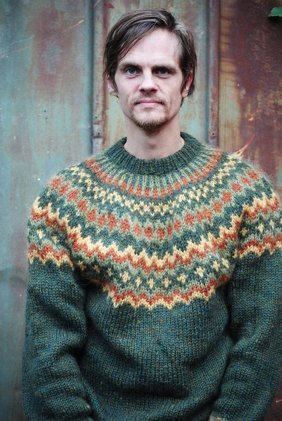 Hand knitted sweater for men colorful 100 Icelandic by Kollestrik