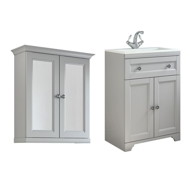 cooke lewis chadleigh matt light grey vanity unit with basin mirror cabinet
