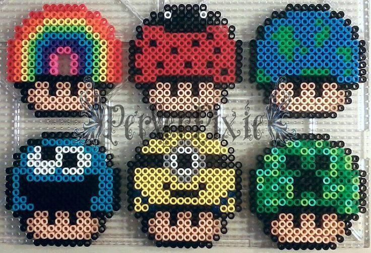 Mushrooms perler beads (Rainbow, Ladybug, Earth, Cookie Monster, Minion, Creeper) by PerlerPixie