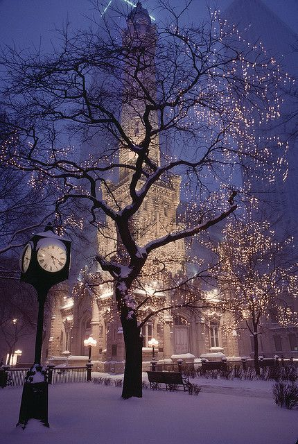 Christmas lightsSweets Home, Water Towers, Christmas Time, Snow, Christmas Lights, Winter Wonderland, Places, Chicago