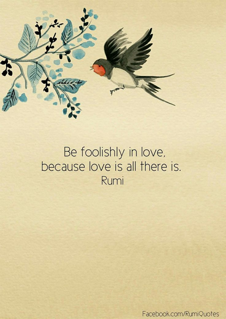 """Be foolishly in love, because love is all there is"" -Rumi"