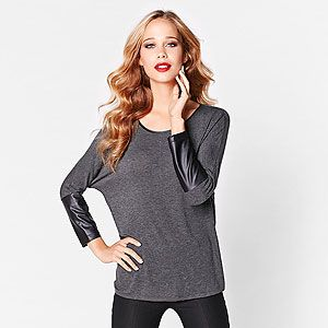 Dynamite top with faux leather sleeves
