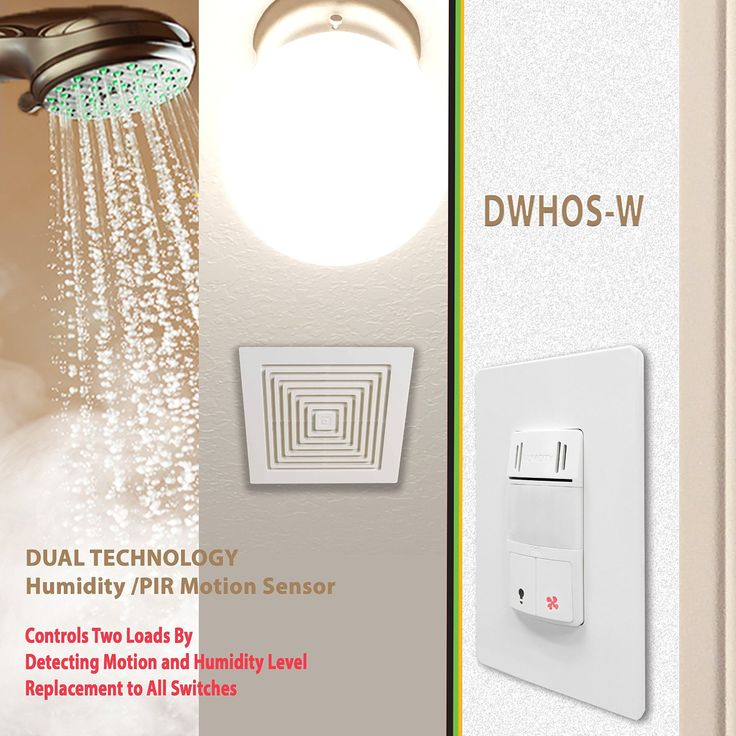 Enerlites DWHOS-W Dual Technology Humidity Plus PIR Motion Sensor Switch for Light and Fan, Face Cover Interchangeable, Controls 2 Loads, White - - Amazon.com