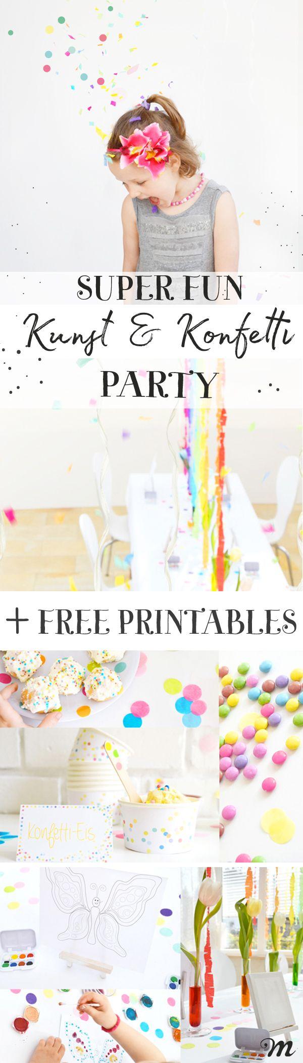 YAY - die superfröhliche Kunst und Konfetti Party für den Kindergeburtstag + kostenlose  Printables mit Einladungskarte. Schaut euch die Rezepte, Spiele und Deko an. Die Party hat so viel Spaß gemacht und ist für Jungs und Mädchen ein tolles Thema. Viele weitere Ideen für einen Kindergeburtstag findet ihr auf dem Minidrops Blog.  Tipp: Jetzt pinnen - später in Ruhe anschauen #Konfetti #Party #Kindergeburtstag #Printables #Einladung #schnell #Minidrops