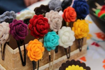 Hair Clip with felt Roses - Mollettine per capelli a forma di rosa in feltro