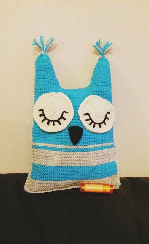 Crochet Owl Pillow I made for my lovelylovelylovely niece for her birthday.<3