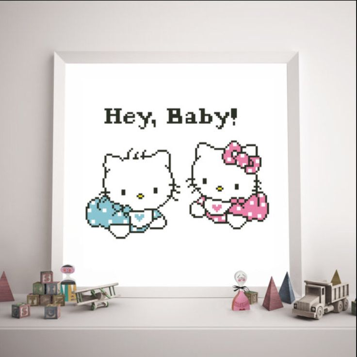 Perfect gift for Twins baby shower gift Baby Hello Kitty and Baby Daniel Cross stitch