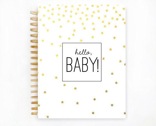 Baby Book GOLD STARS Baby Memory Book by TheSweetRhino on Etsy