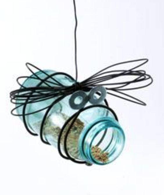 """Mason jar and wire """"bug"""" bird feeder"""