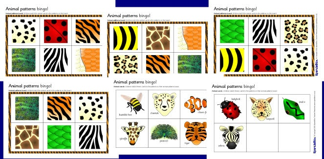 Animal patterns bingo (SB1727) - SparkleBox