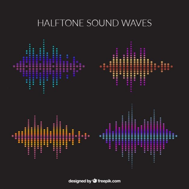 Pacote de ondas sonoras de quatro meio-tom Vetor grátis