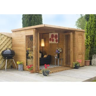 Summer Houses :: Garden Room with side shed 10ft x 8ft - Garden Sheds, Plastic Metal Sheds, Corner Summerhouses UK
