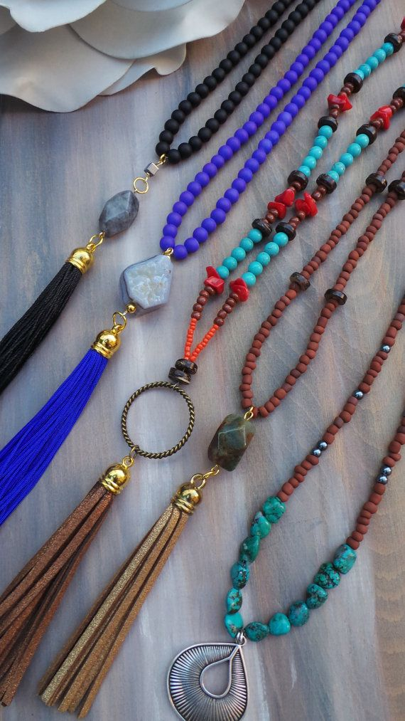 Boho tassel necklace. Beaded tassel by AllAboutEveCreations
