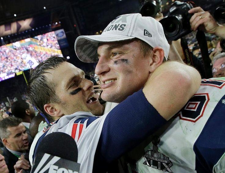 Brady and Gronk.  Patriots vs. Seahawks: Super Bowl XLIX The New England Patriots take on the Seattle Seahawks in Super Bowl XLIX at University of Phoenix Stadium on Sunday, February 1, 2015.