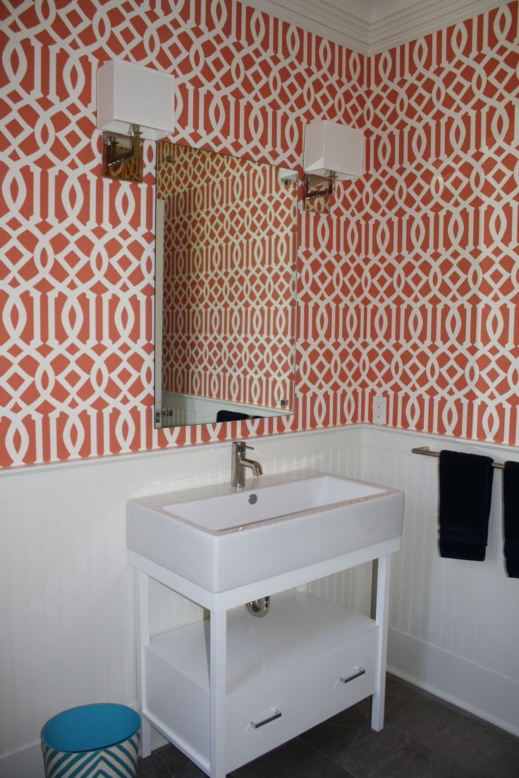 67 best wall covering images on pinterest schumacher fabric coral powder room wallpaper idea for family room bathroom