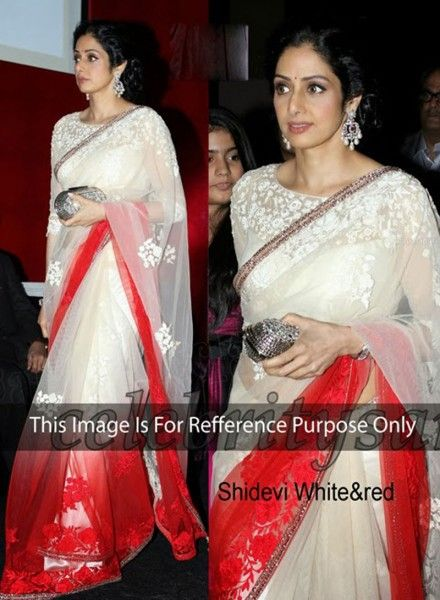 Sri Devi Designer Off White Saree In Net & Satin . Shop at - http://www.gravity-fashion.com/sri-devi-designer-off-white-saree-in-net-satin-gf7140330.html
