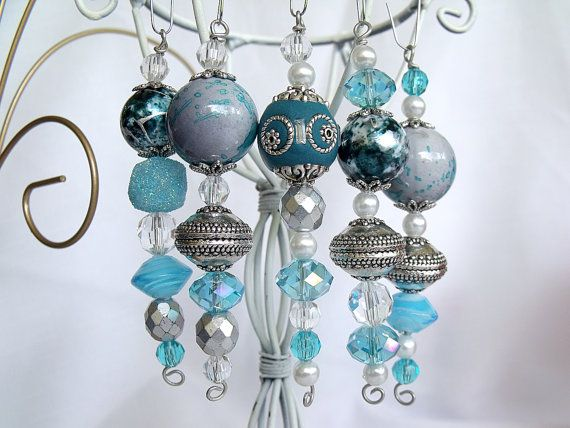 blue bead christmas ornaments - ideal for my bedroom christmas tree