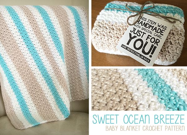 Sweet Ocean Breeze Baby Blanket | Free Crochet Pattern by Little Monkeys Crochet | A beautiful SC DC stitch combo, together with a sheen and baby-soft yarn from Bernat, creates a gorgeous baby blanket for your next baby shower gift. That new mama will love snuggling her precious newborn in this soft, special crochet blanket. Free pattern!