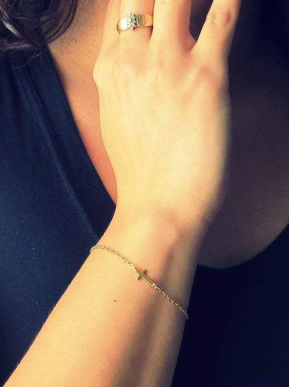 Tiny gold sideways Cross Bracelet, thin chain bracelet, Gold Cross Bracelet, Asymmetrical Cross, Sideway Cross Bracelet on Etsy, $19.00