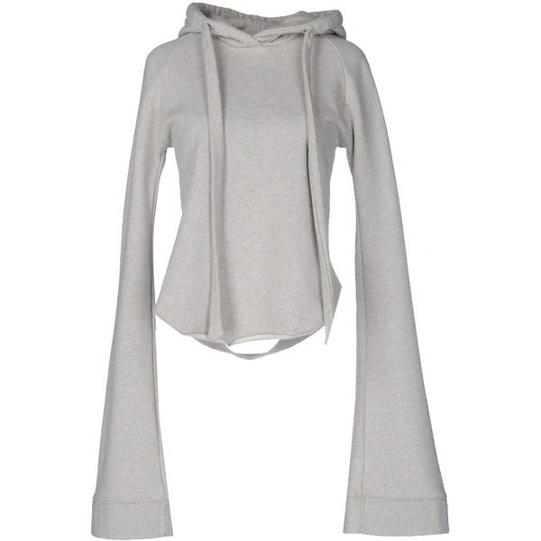 Vetements Sweatshirt ($335) ❤ liked on Polyvore featuring tops, hoodies, sweatshirts, grey, long sleeve tops, pocket sweatshirt, long sleeve sweatshirt, grey long sleeve top and long sleeve cotton tops
