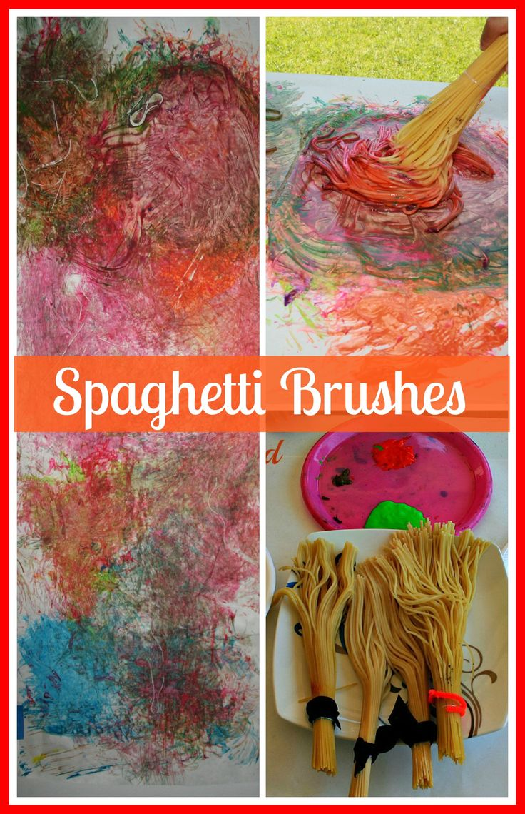 Spaghetti Brushes with an optional sensory element  for those that are not into the fun of messy yet- here's a way to participate in spag. painting
