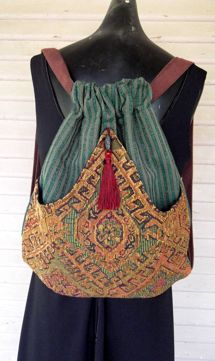 Backpack of Chenille Tapestry Boho Backpack by piperscrossing, via Etsy.