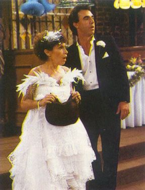The best TV wedding dress ever: Carla from Cheers. She was years ahead of the fascinator trend and she even had matching shoes!