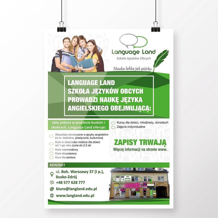 Projekt i wydruk plakatu dla Szkoły Języków Language Land #projektgraficzny #graphicdesign #plakat #poster #mgraphics #buskozdroj #nadajemyksztaltypomyslom www.mgraphics.eu