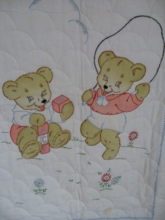 Vintage hand quilted crib quilt