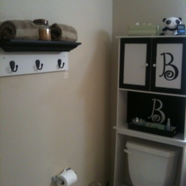 Diy black white small bath made stencil using contact for Black and white bathroom paper