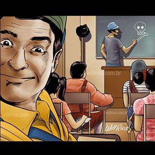 Selfie de Godinez en el salon de clases