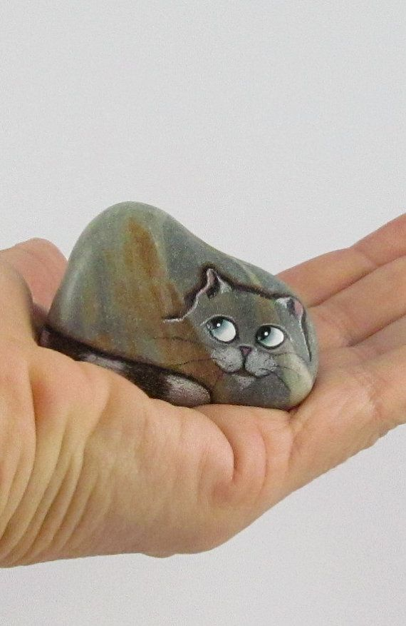Hand Painted Rock Cat Miniature by qvistdesign on Etsy