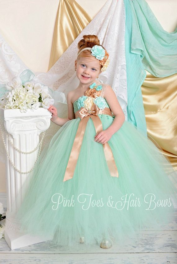 #Mint Flower Girl Dress-Mint and Gold Flower girl by GlitterMeBaby