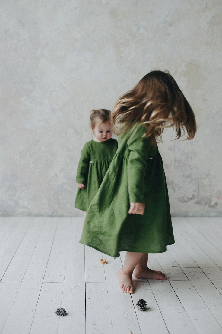 Softed linen dress girl kids clothes handmade tinystories