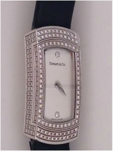 18K white gold Tiffany diamond wristwatch *click for link or to request pricing #Tiffany #ladieswatch #diamondwatch #santabarbarajewelry