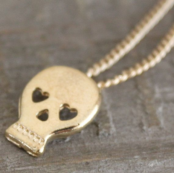 skull necklace tiny gold necklace skull by SweetLakeJewelry, €6.00