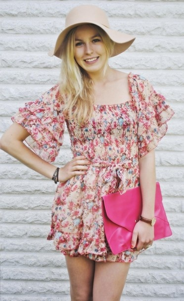Fun Flowery Dress and hot pink fossil bag